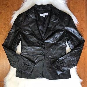 New York & Company black faux leather jacket sz 2